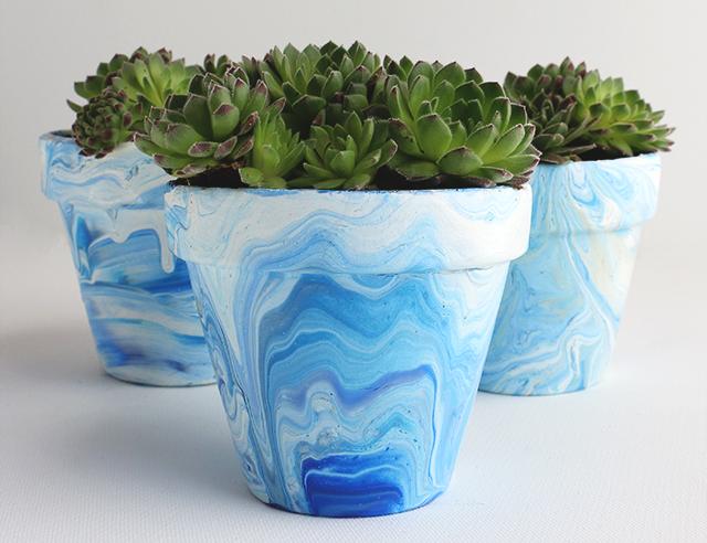 blue marbled plant pots