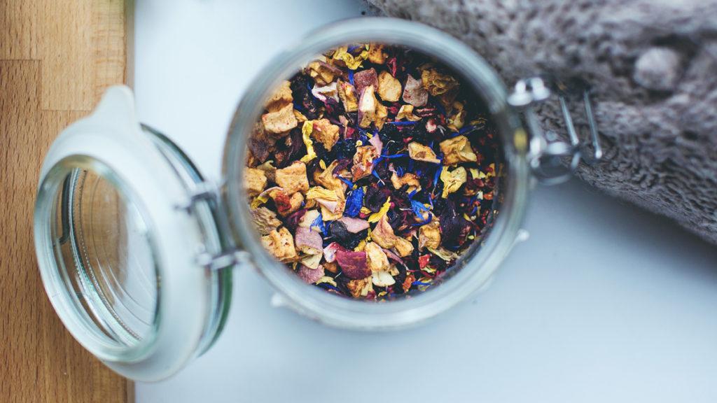 Jar filled with tea mix