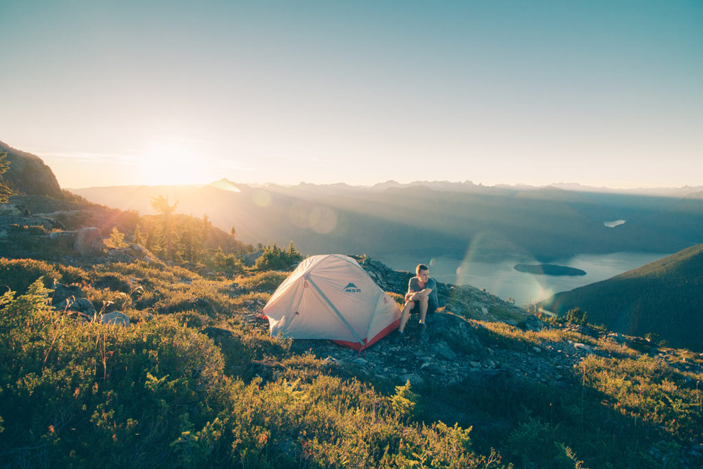 Camping in the Canadian mountains. Drop off leftover liquid camping fuel, a recyclable product in BC and Manitoba