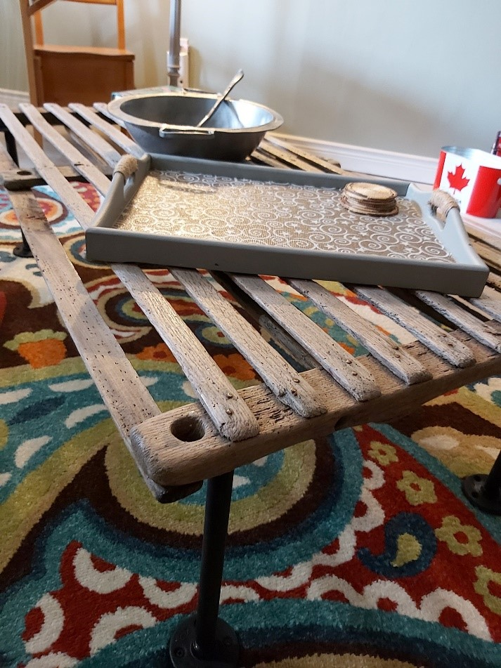 Upcycled serving tray and coffee table