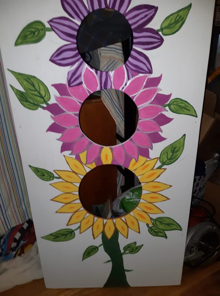 DIY bean bag toss game leftover paint project