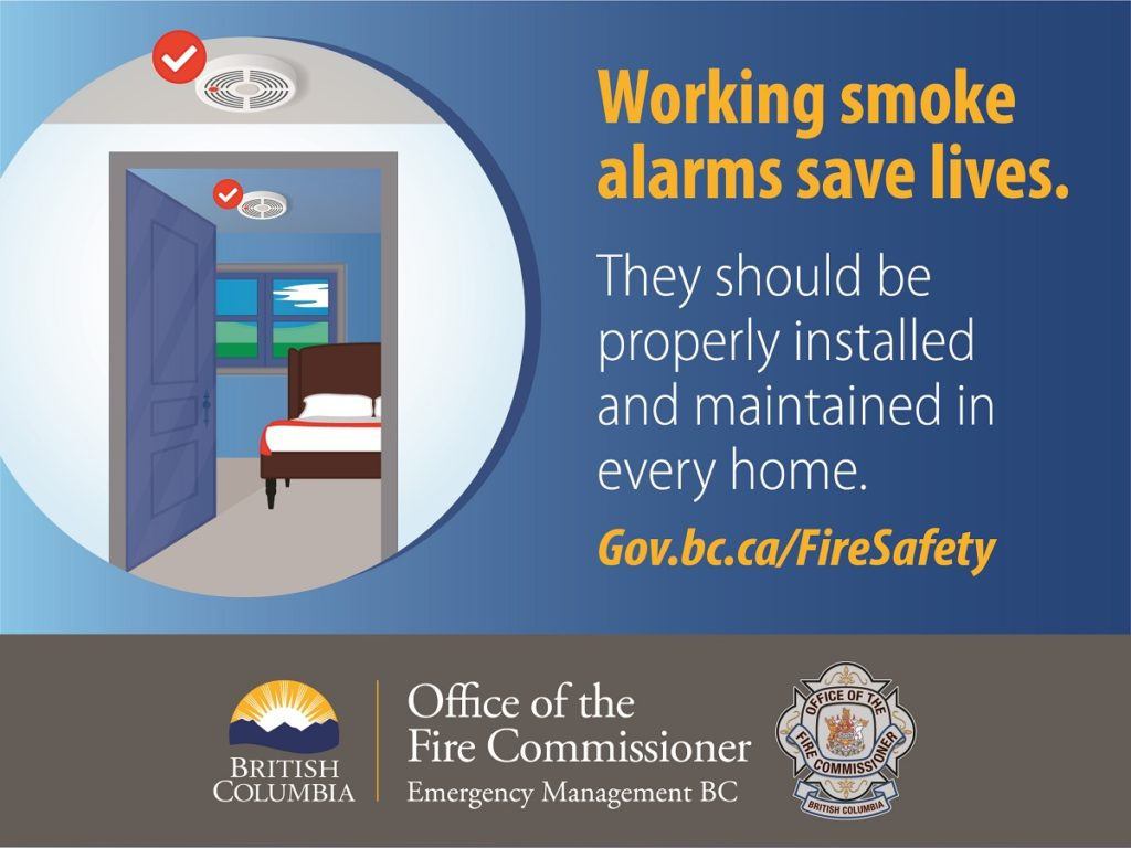 Working smoke alarms save lives - BC government poster