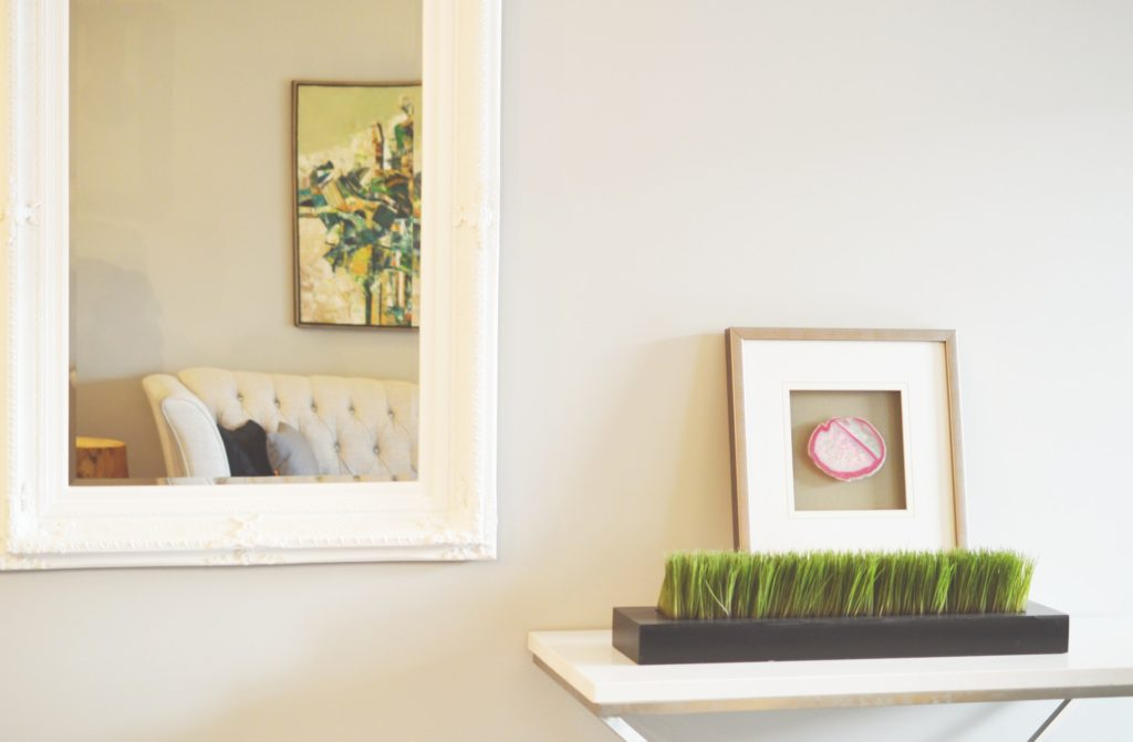 mirror and table inside home