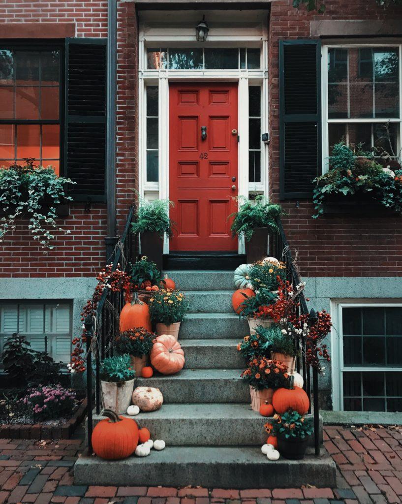 pumpkins on doorsteps