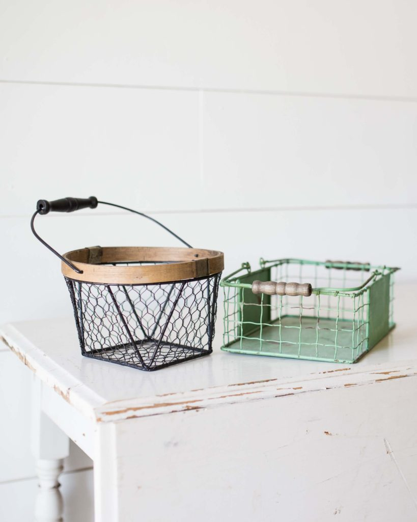 two wire baskets on table
